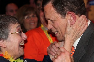 Massachusetts Treasurer Steven Grossman greets a supporter after winning the gubernatorial endorsement at the Democratic State Convention in June. PHOTO ORIGINALLY PUBLISHED ON DAILYFREEPRESS.COM. CLICK PHOTO FOR FULL STORY AND MORE IMAGES.